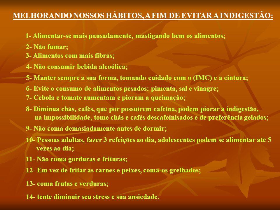 MELHORANDO NOSSOS HÁBITOS, A FIM DE EVITAR A INDIGESTÃO: