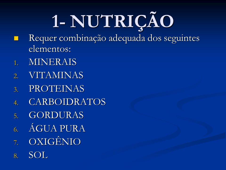 1- NUTRIÇÃO Requer combinação adequada dos seguintes elementos: