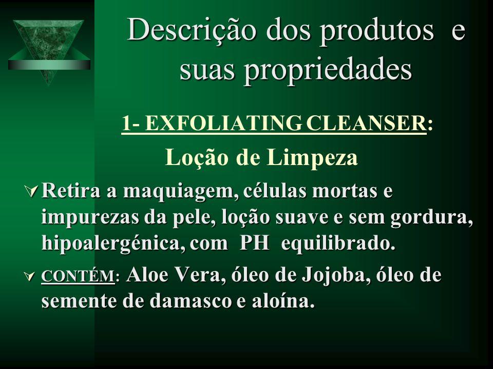 Descrição dos produtos e suas propriedades