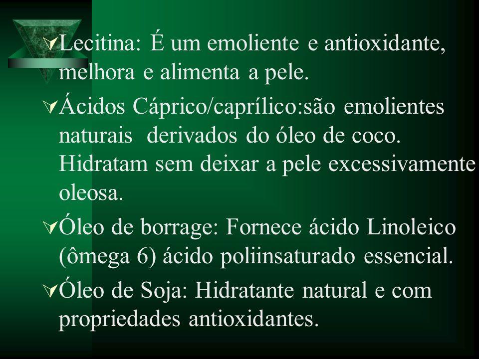 Lecitina: É um emoliente e antioxidante, melhora e alimenta a pele.