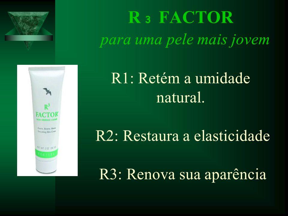 R 3 FACTOR para uma pele mais jovem R1: Retém a umidade natural