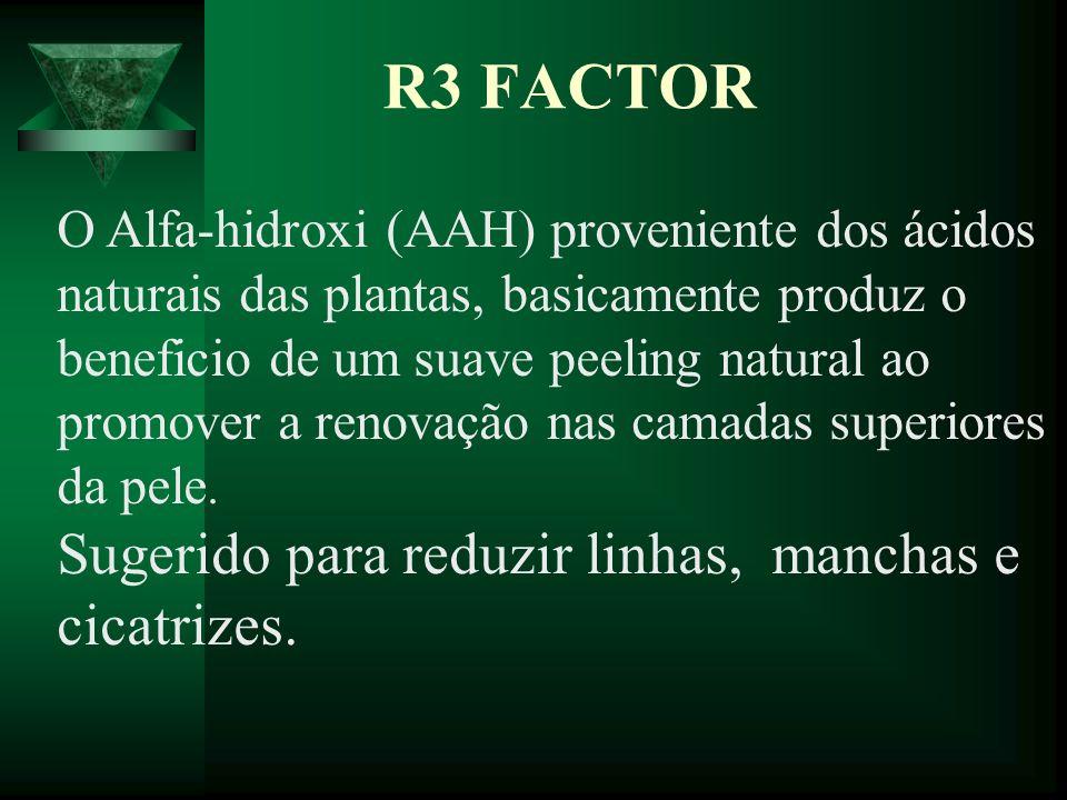 R3 FACTOR Sugerido para reduzir linhas, manchas e cicatrizes.