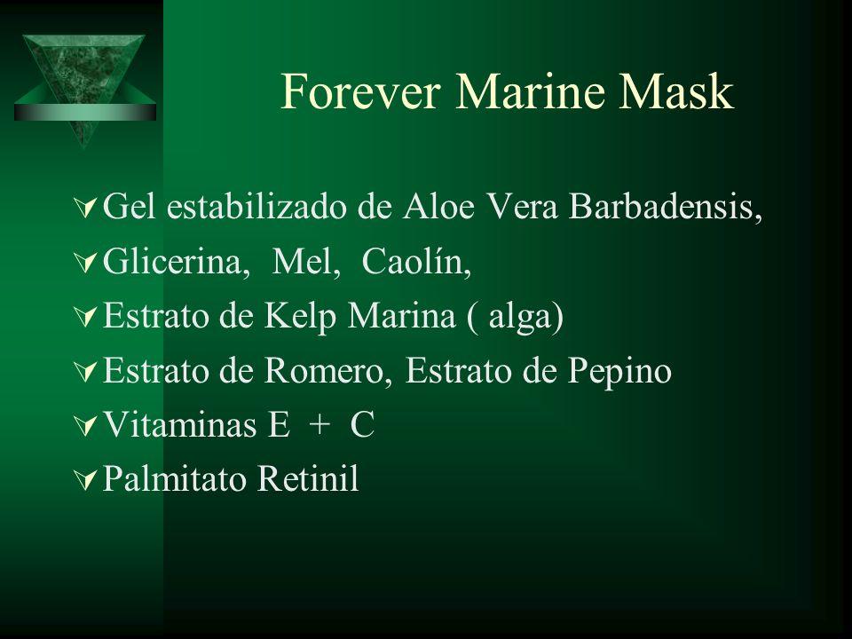Forever Marine Mask Gel estabilizado de Aloe Vera Barbadensis,