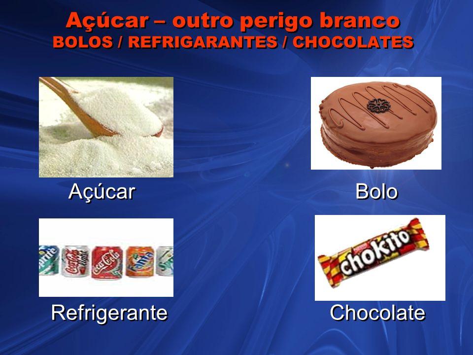 Açúcar – outro perigo branco BOLOS / REFRIGARANTES / CHOCOLATES