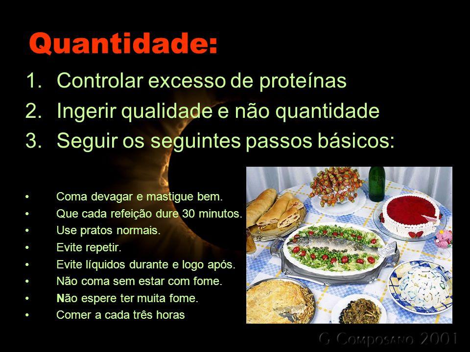 Quantidade: Controlar excesso de proteínas