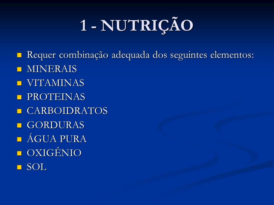 1 - NUTRIÇÃO Requer combinação adequada dos seguintes elementos: