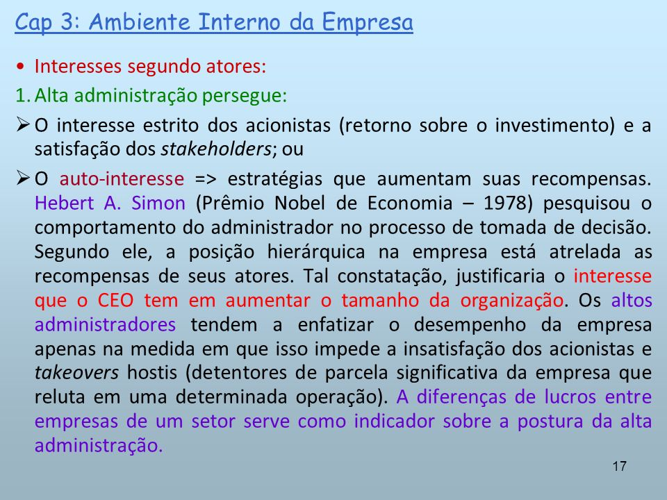 Cap 3: Ambiente Interno da Empresa