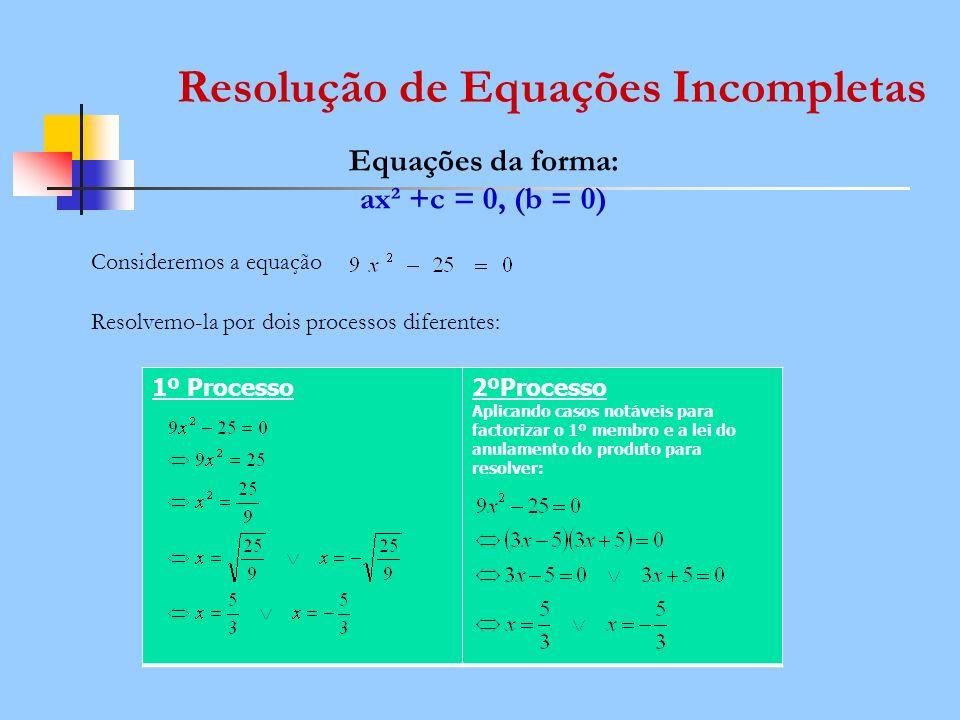 Resolução de Equações Incompletas