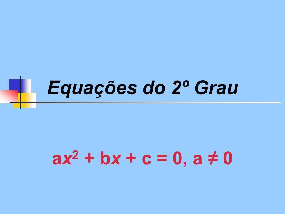 Equações do 2º Grau ax2 + bx + c = 0, a ≠ 0