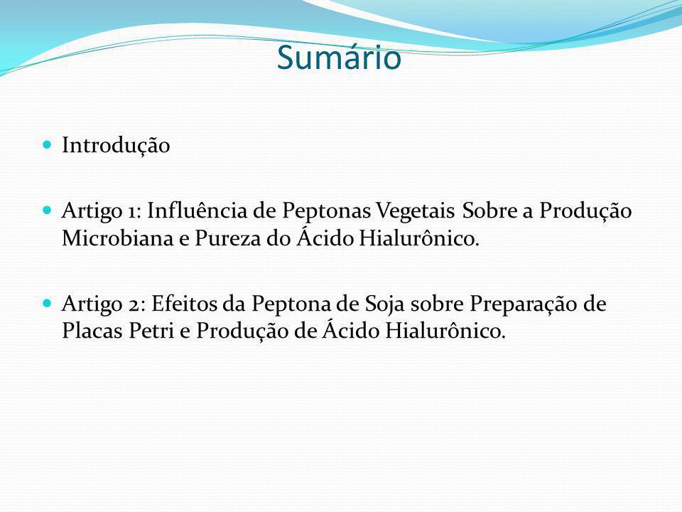 SumárioIntrodução. Artigo 1: Influência de Peptonas Vegetais Sobre a Produção Microbiana e Pureza do Ácido Hialurônico.
