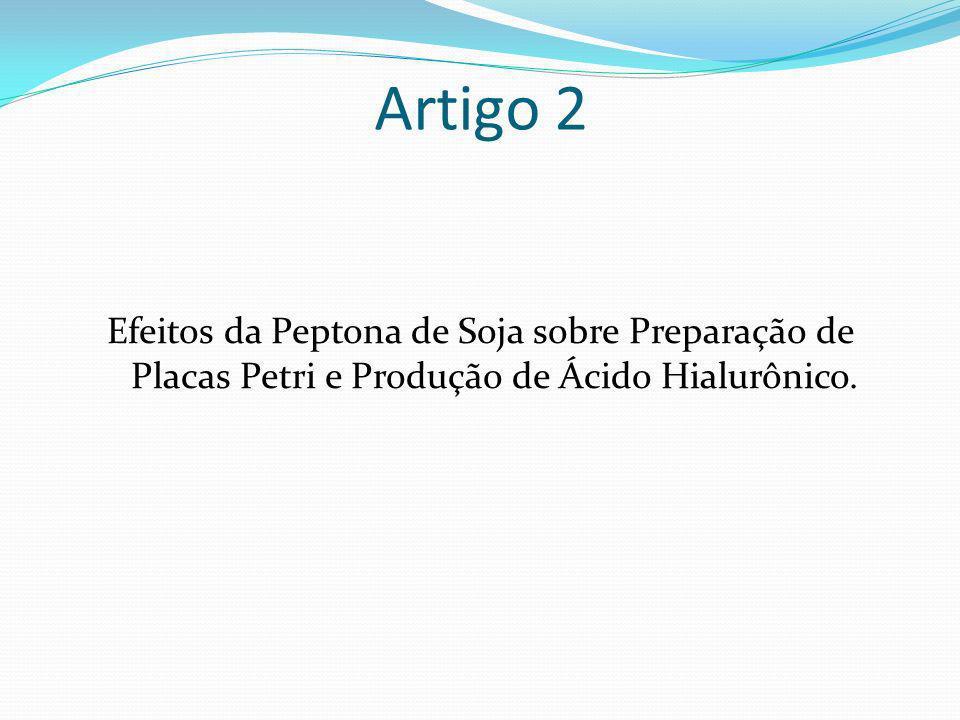 Artigo 2Efeitos da Peptona de Soja sobre Preparação de Placas Petri e Produção de Ácido Hialurônico.
