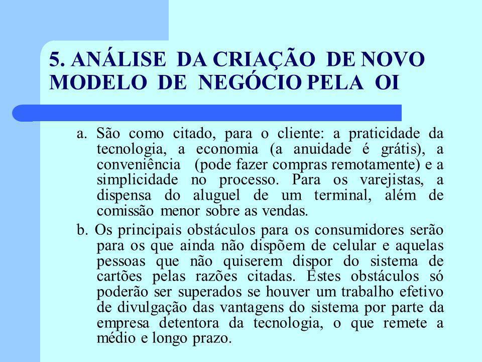5. ANÁLISE DA CRIAÇÃO DE NOVO MODELO DE NEGÓCIO PELA OI
