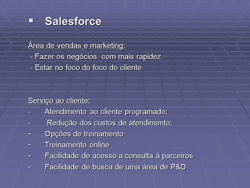 Salesforce Área de vendas e marketing: