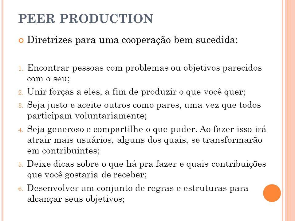 PEER PRODUCTION Diretrizes para uma cooperação bem sucedida: