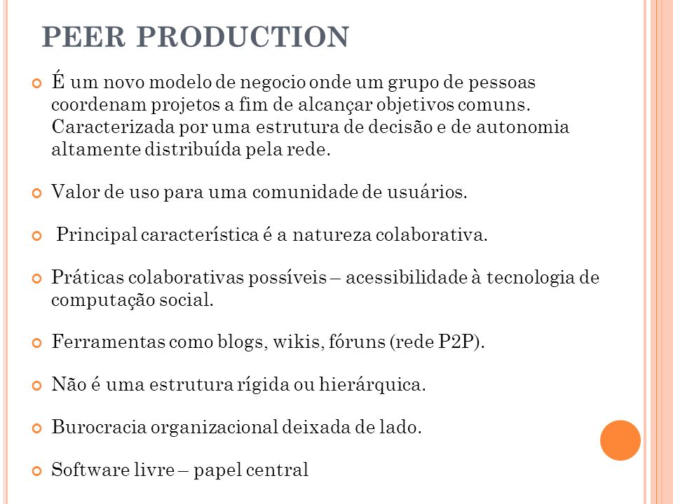 PEER PRODUCTION