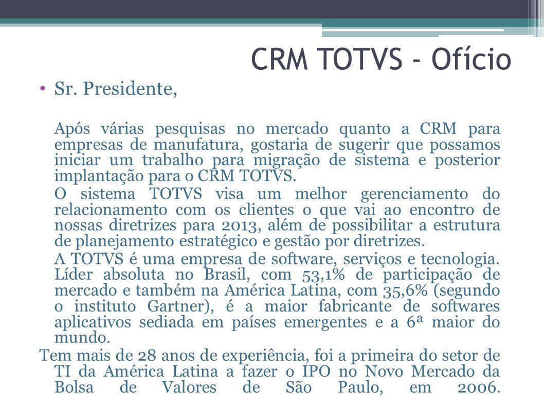 CRM TOTVS - Ofício Sr. Presidente,