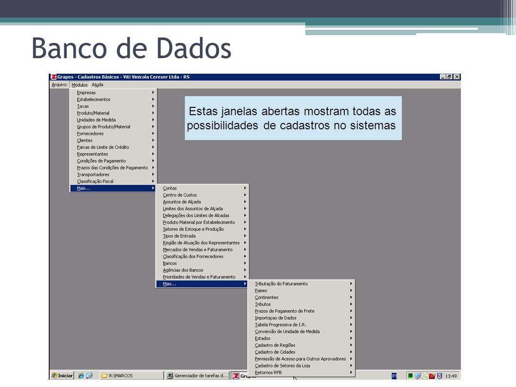 Banco de Dados Estas janelas abertas mostram todas as