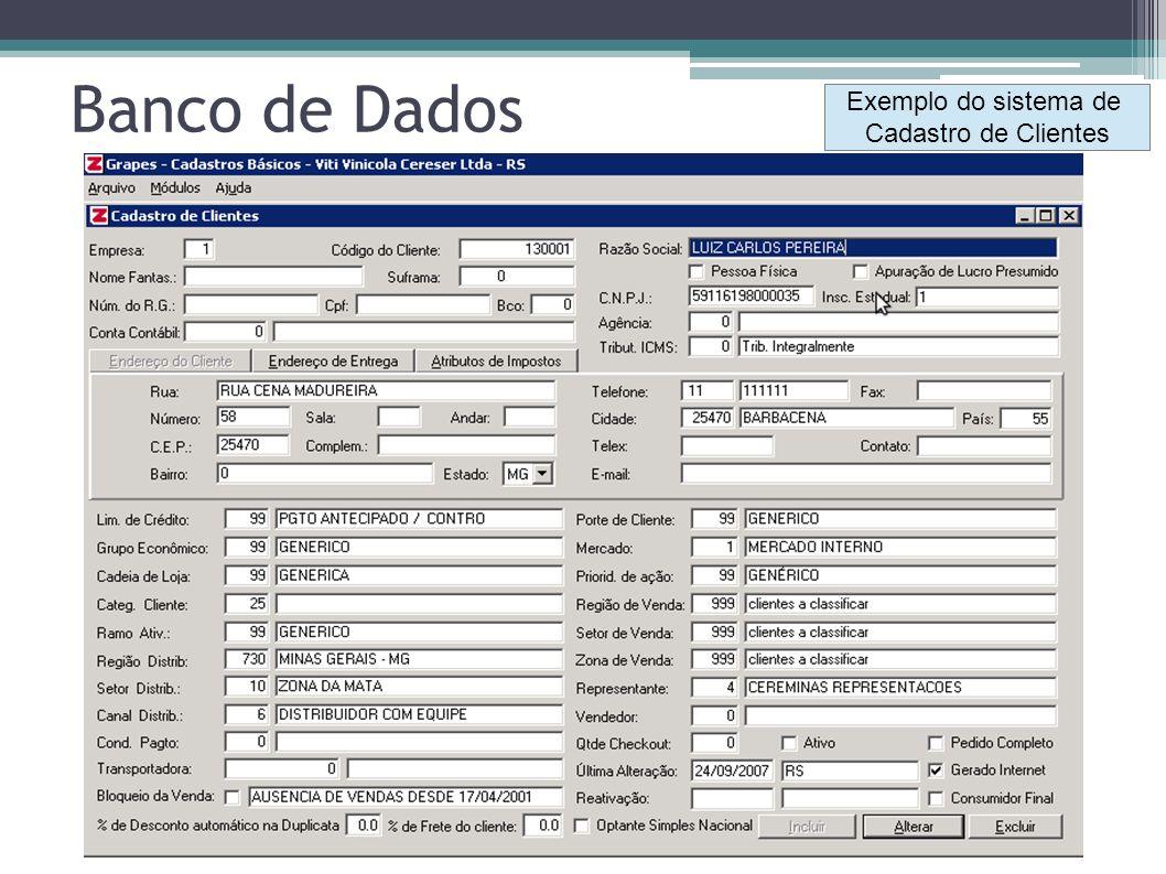 Banco de Dados Exemplo do sistema de Cadastro de Clientes