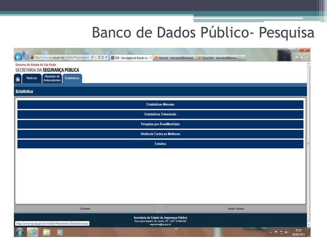 Banco de Dados Público- Pesquisa