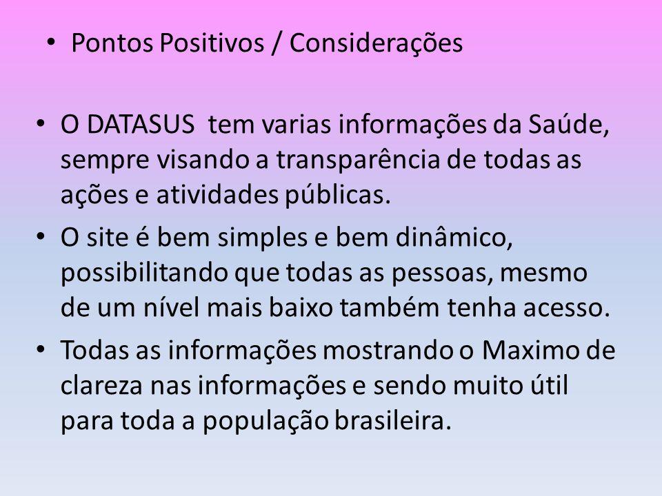 Pontos Positivos / Considerações
