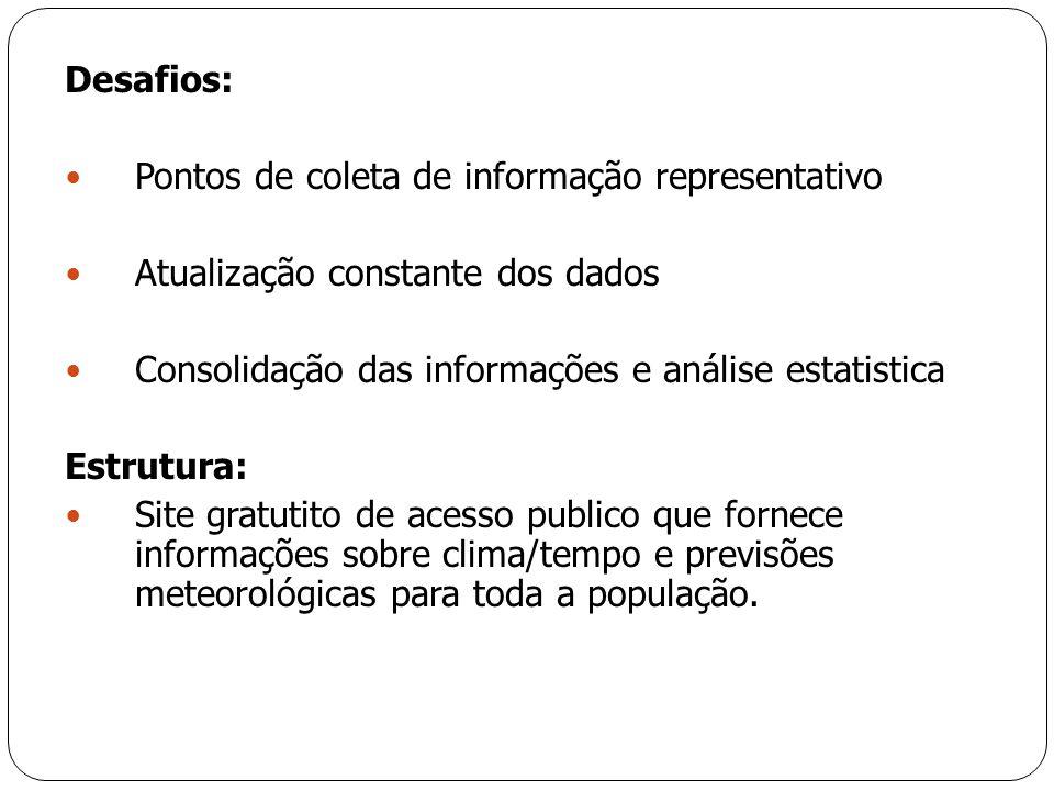 Desafios: Pontos de coleta de informação representativo. Atualização constante dos dados. Consolidação das informações e análise estatistica.