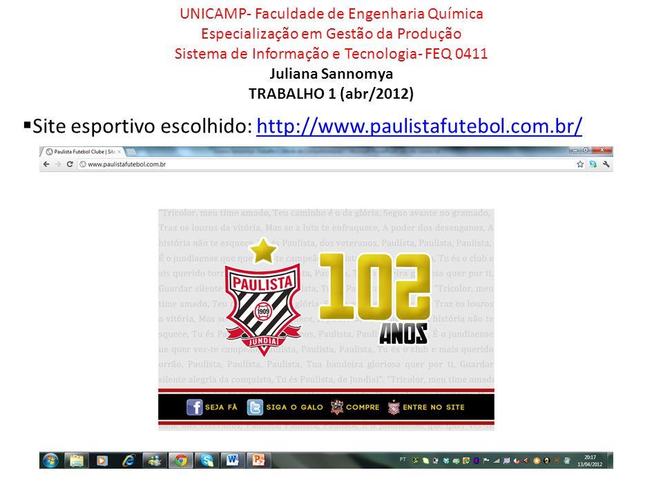 Site esportivo escolhido: http://www.paulistafutebol.com.br/