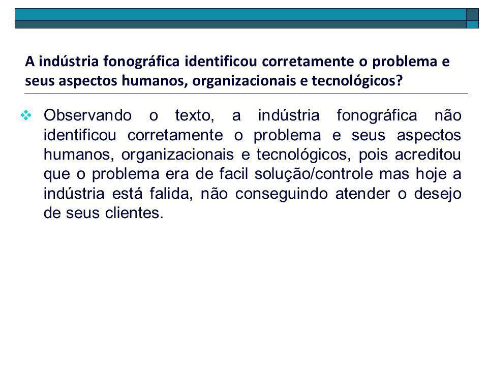 A indústria fonográfica identificou corretamente o problema e seus aspectos humanos, organizacionais e tecnológicos