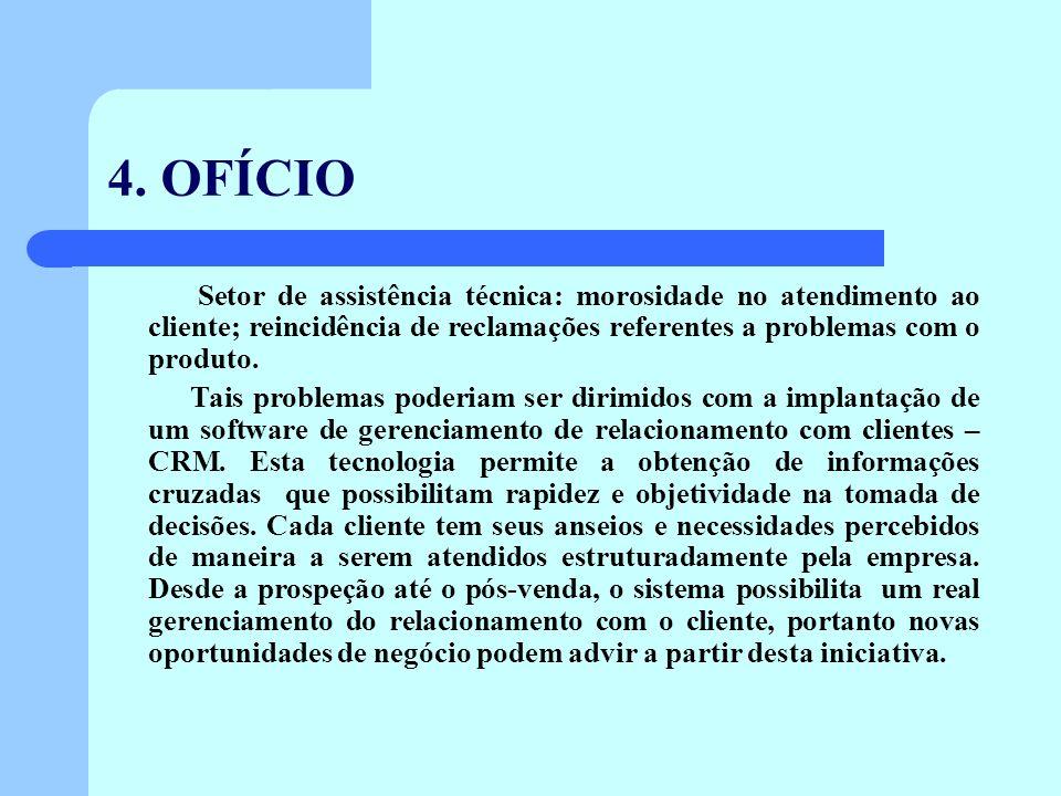 4. OFÍCIO Setor de assistência técnica: morosidade no atendimento ao cliente; reincidência de reclamações referentes a problemas com o produto.