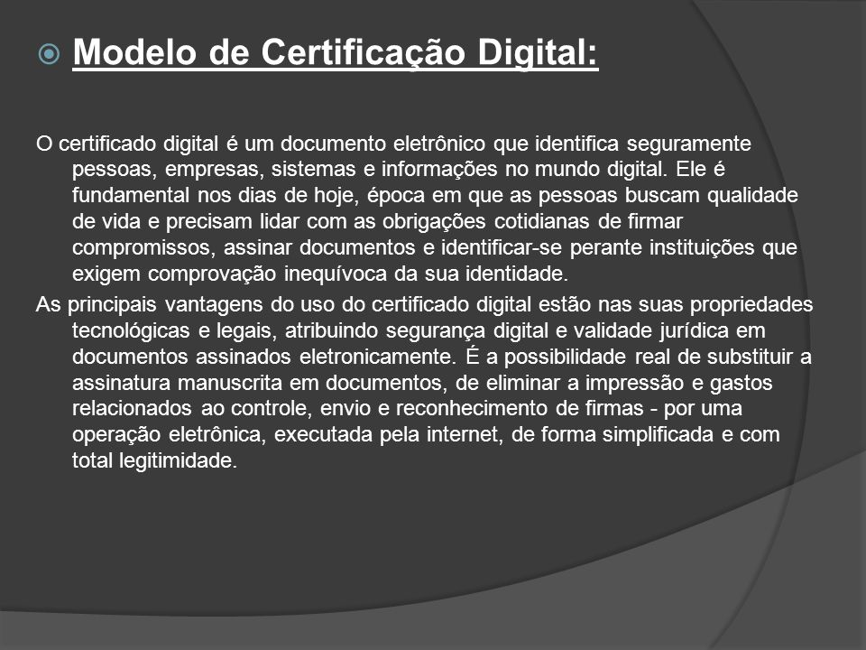 Modelo de Certificação Digital: