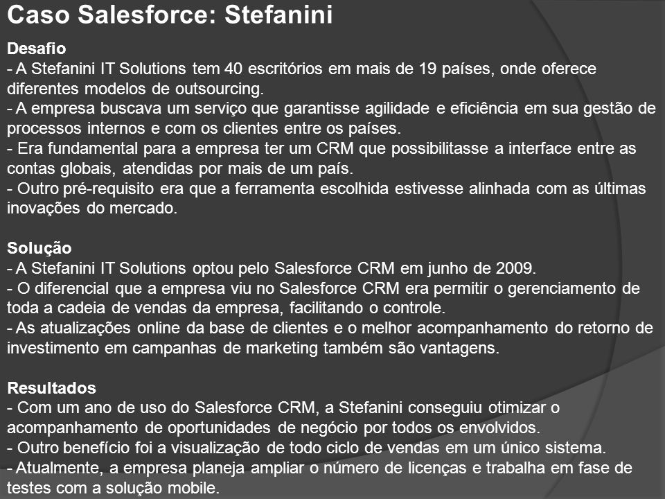 Caso Salesforce: Stefanini