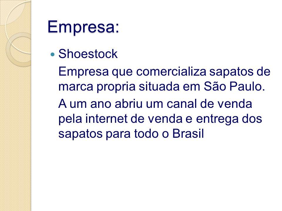Empresa: Shoestock. Empresa que comercializa sapatos de marca propria situada em São Paulo.