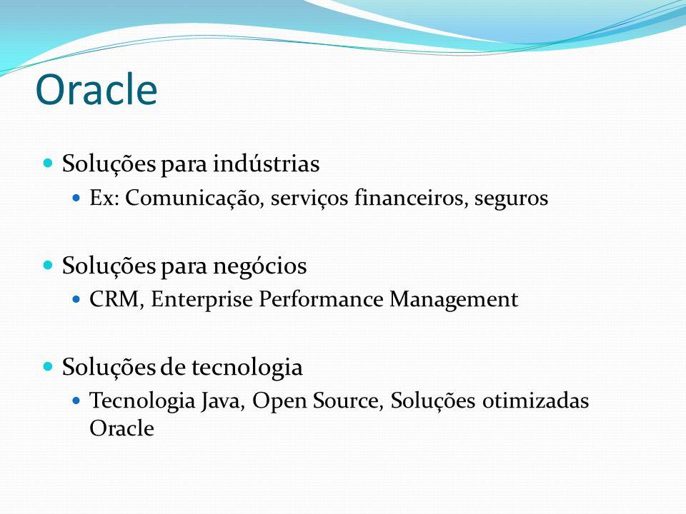 Oracle Soluções para indústrias Soluções para negócios