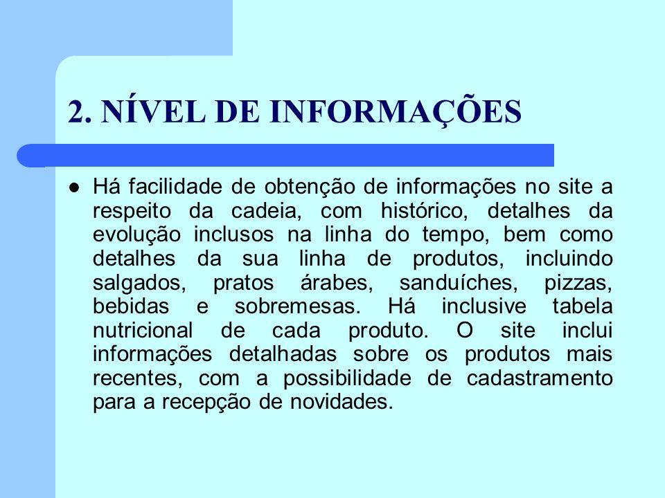 2. NÍVEL DE INFORMAÇÕES