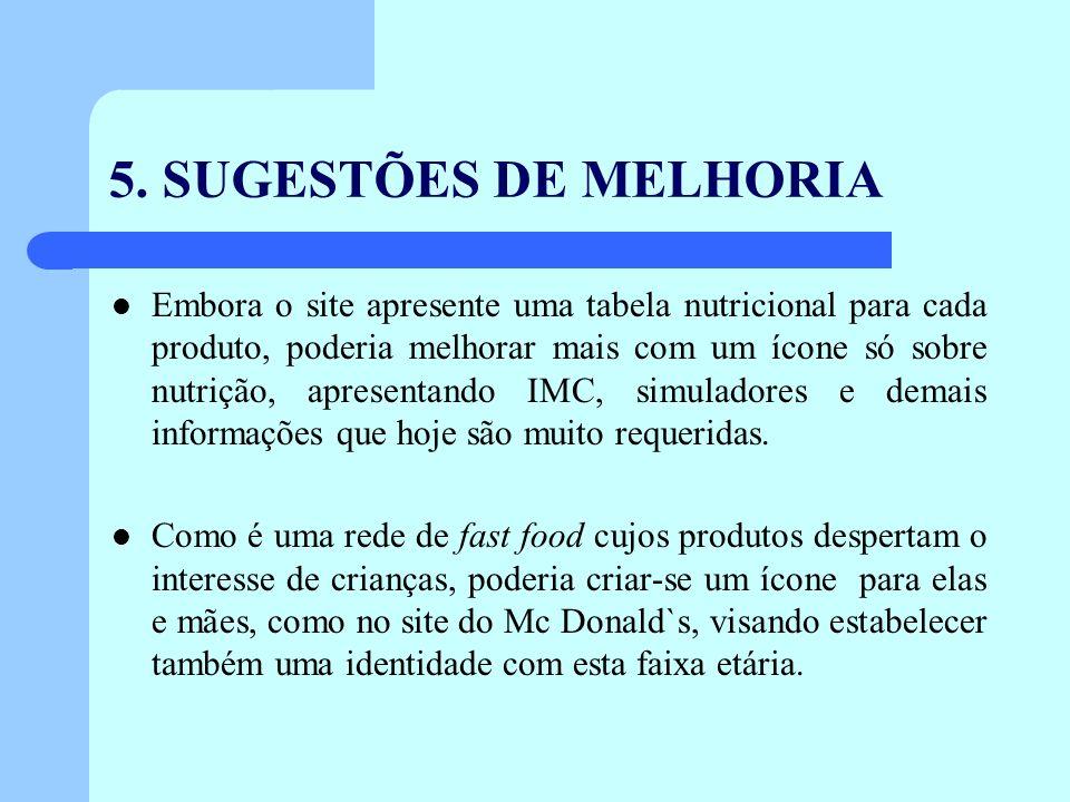 5. SUGESTÕES DE MELHORIA