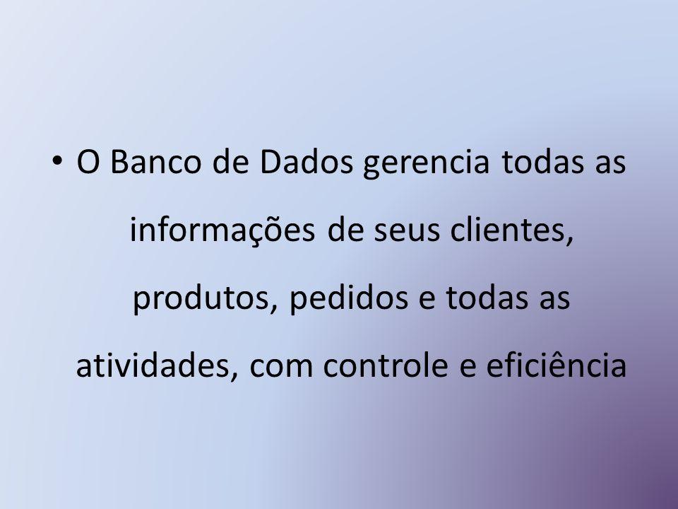 O Banco de Dados gerencia todas as informações de seus clientes, produtos, pedidos e todas as atividades, com controle e eficiência