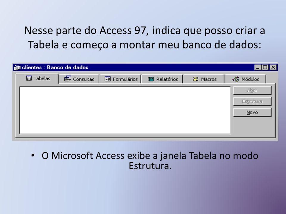O Microsoft Access exibe a janela Tabela no modo Estrutura.