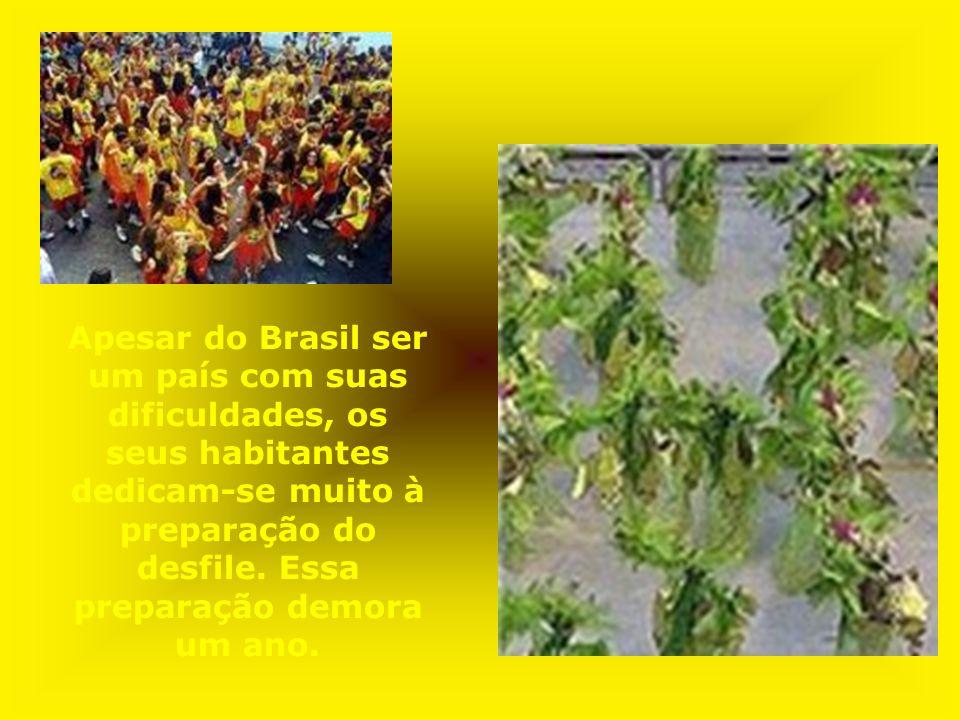 Apesar do Brasil ser um país com suas dificuldades, os seus habitantes dedicam-se muito à preparação do desfile.