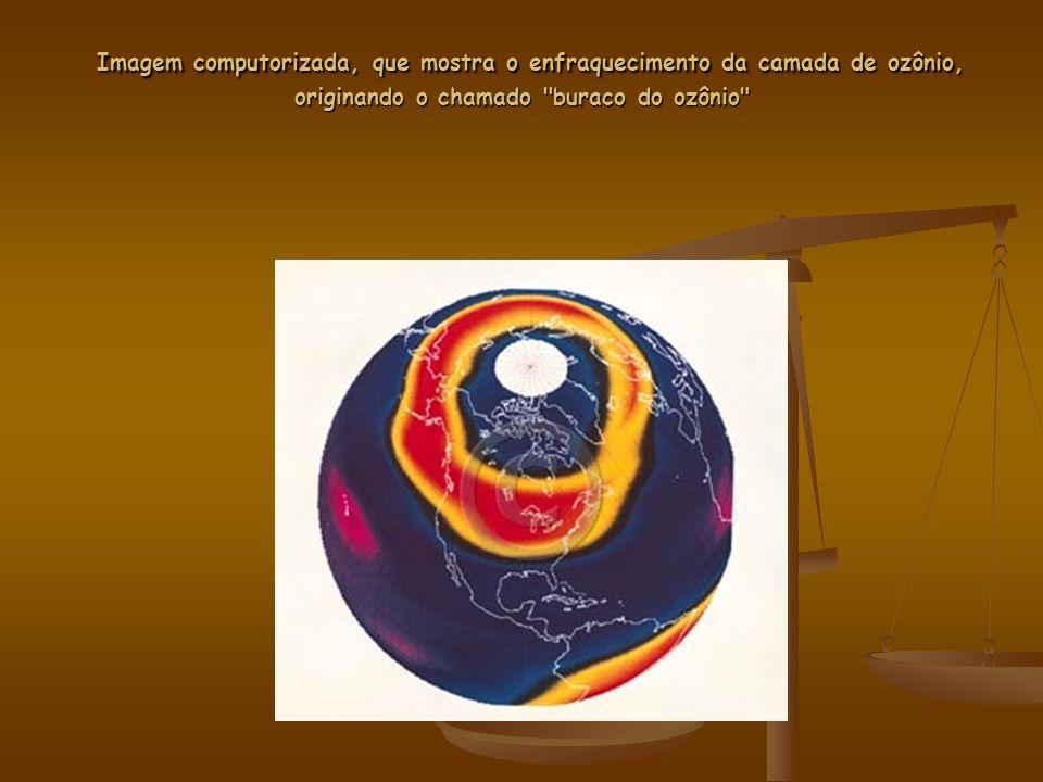 Imagem computorizada, que mostra o enfraquecimento da camada de ozônio, originando o chamado buraco do ozônio