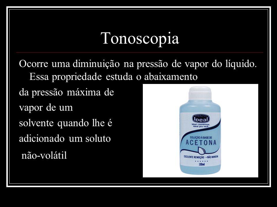 Tonoscopia Ocorre uma diminuição na pressão de vapor do líquido. Essa propriedade estuda o abaixamento.