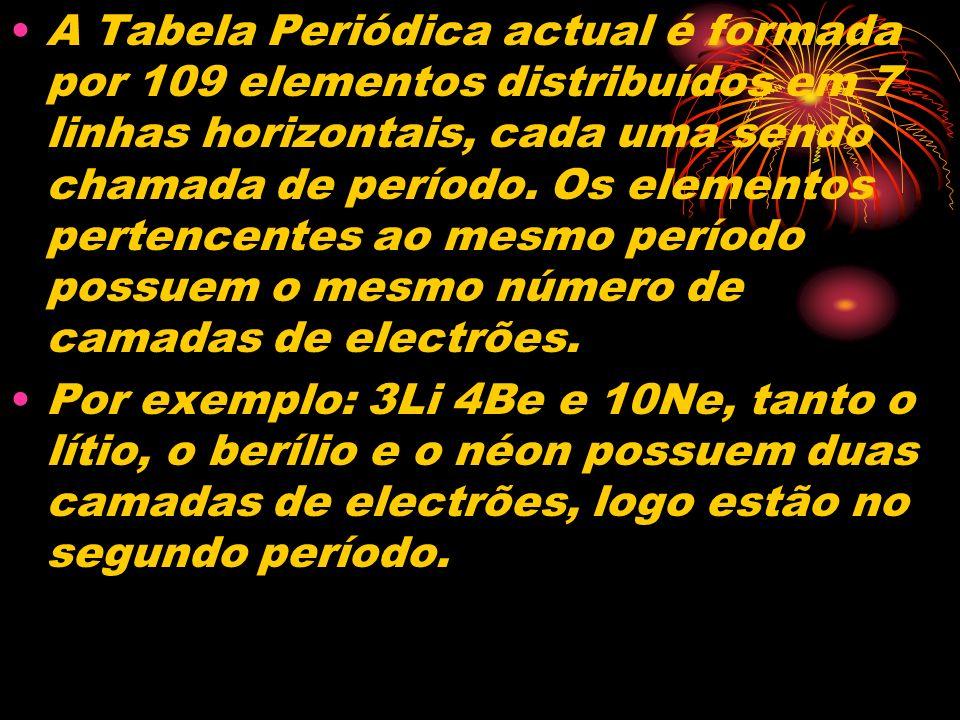 A Tabela Periódica actual é formada por 109 elementos distribuídos em 7 linhas horizontais, cada uma sendo chamada de período. Os elementos pertencentes ao mesmo período possuem o mesmo número de camadas de electrões.