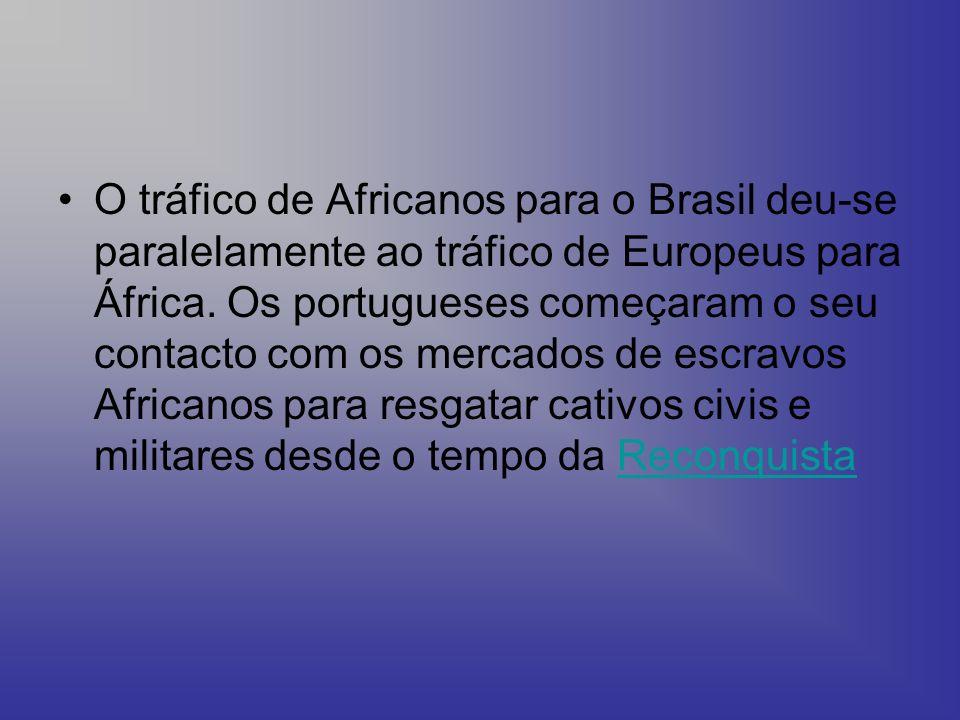 O tráfico de Africanos para o Brasil deu-se paralelamente ao tráfico de Europeus para África.