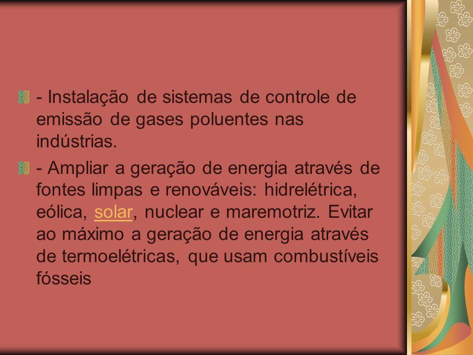 - Instalação de sistemas de controle de emissão de gases poluentes nas indústrias.