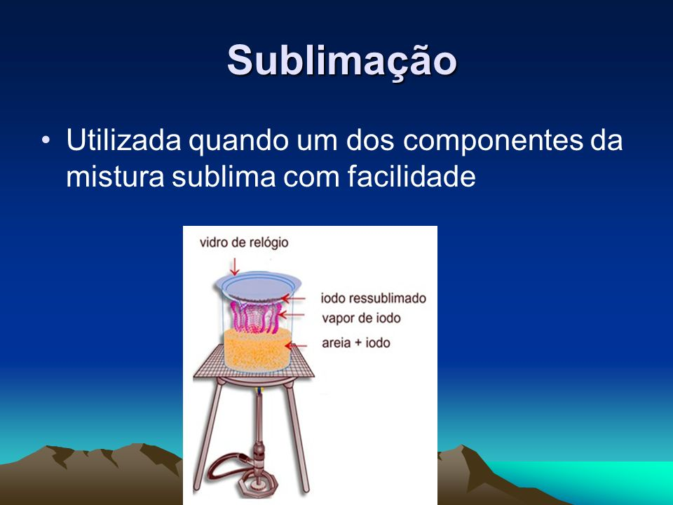 Sublimação Utilizada quando um dos componentes da mistura sublima com facilidade