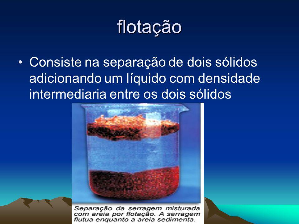 flotação Consiste na separação de dois sólidos adicionando um líquido com densidade intermediaria entre os dois sólidos.