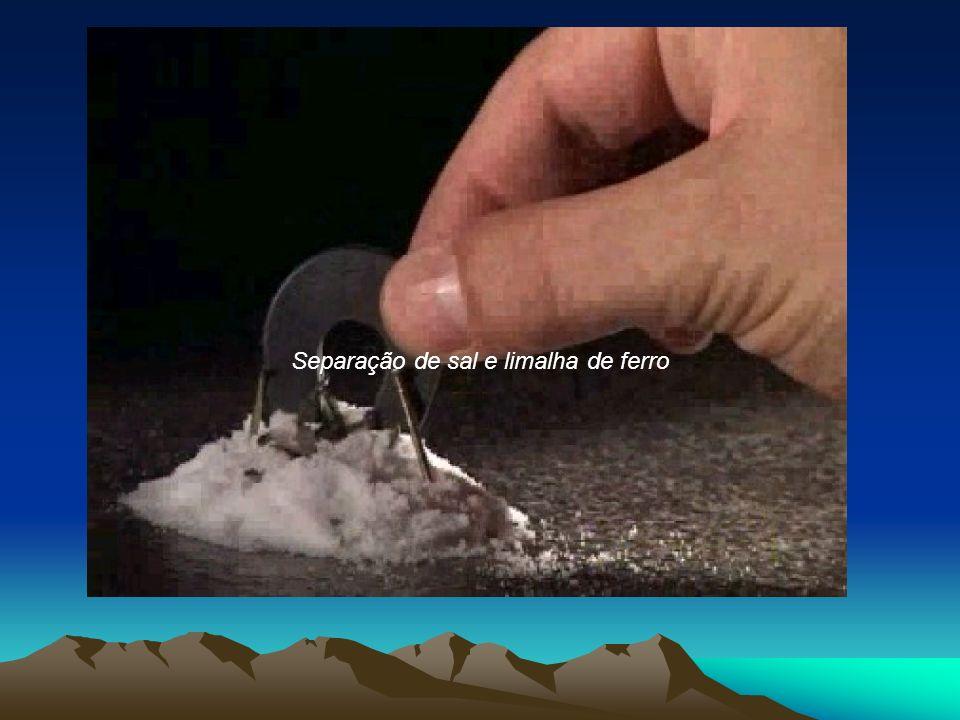 Separação de sal e limalha de ferro