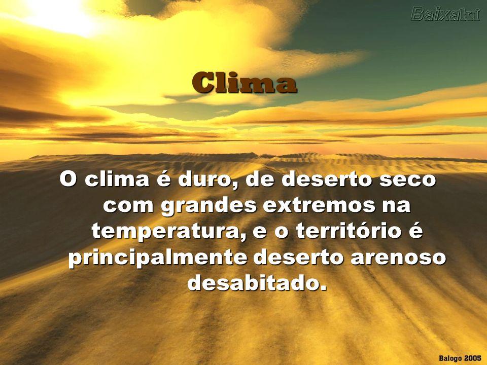 ClimaO clima é duro, de deserto seco com grandes extremos na temperatura, e o território é principalmente deserto arenoso desabitado.