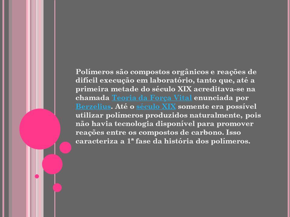 Polímeros são compostos orgânicos e reações de difícil execução em laboratório, tanto que, até a primeira metade do século XIX acreditava-se na chamada Teoria da Força Vital enunciada por Berzelius.