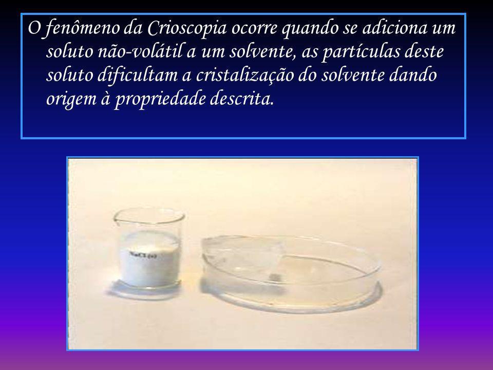 O fenômeno da Crioscopia ocorre quando se adiciona um soluto não-volátil a um solvente, as partículas deste soluto dificultam a cristalização do solvente dando origem à propriedade descrita.