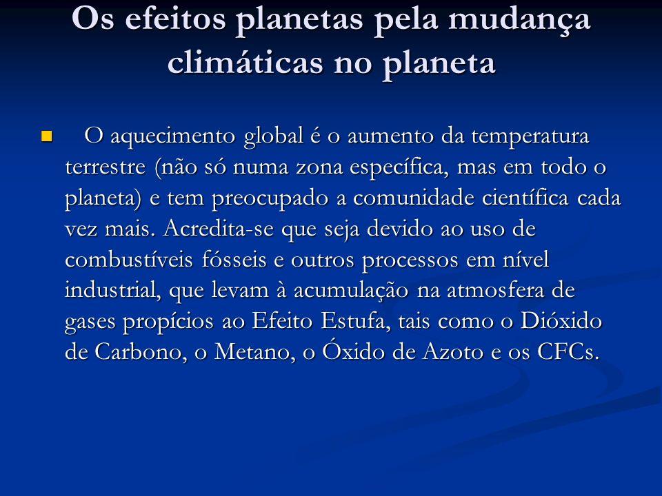 Os efeitos planetas pela mudança climáticas no planeta