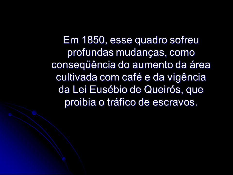 Em 1850, esse quadro sofreu profundas mudanças, como conseqüência do aumento da área cultivada com café e da vigência da Lei Eusébio de Queirós, que proibia o tráfico de escravos.